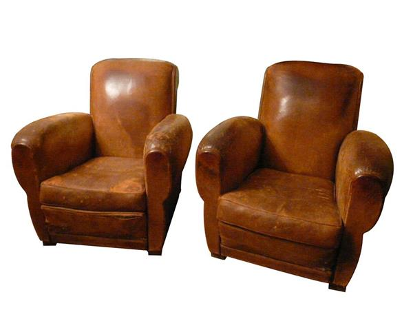 Pair of French original leather armchairs - ART DECO