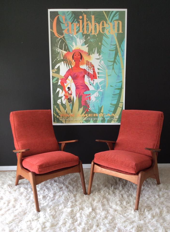 Tangerine and Teal Fred Lowen arm chairs