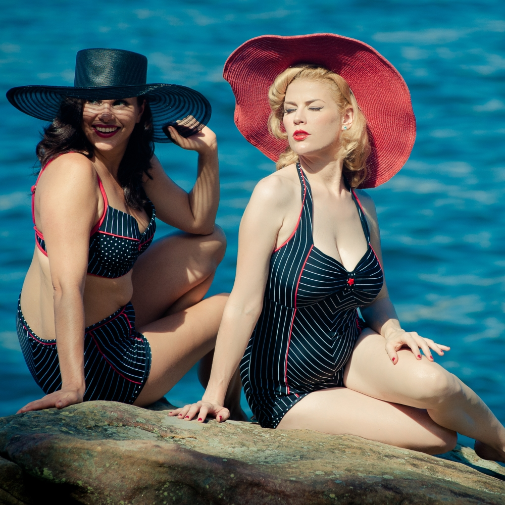 Beyond the Sea swimwear pinstripe - vintage swimwear