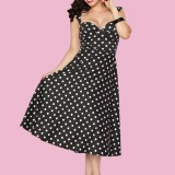 Roman-Holiday-blk-white-polka dot dress